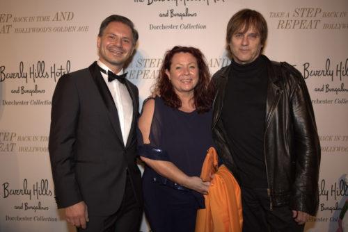 dt. Redner Marcus Rübbe und Astrid Arens mit Rockstar Chris Pitman (Guns N'Roses)
